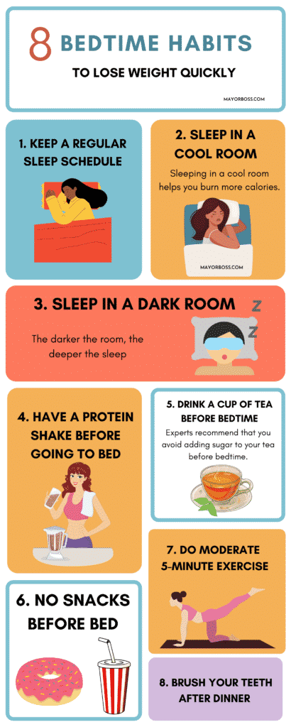 8 bedtime habits to lose weight quickly